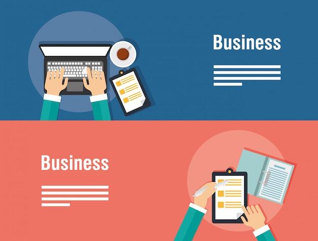 Banners de negócios com computador portátil e ícones
