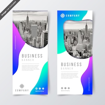 Banners de negócios de gradiente com foto