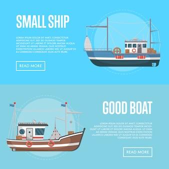Banners de negócios de pesca com pequenos barcos