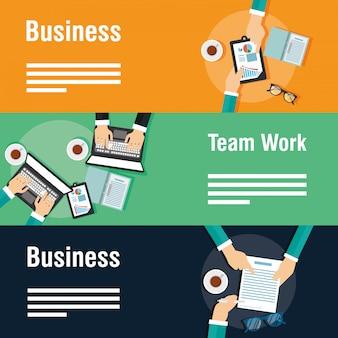 Banners de negócios e trabalho em equipe com gadgets
