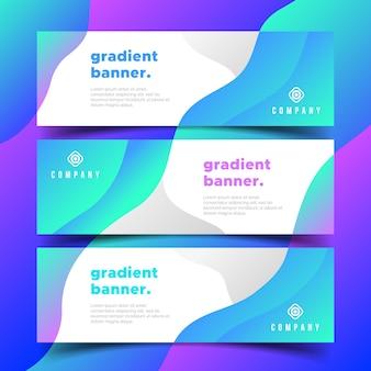 Banners de negócios modernos com formas de gradientes