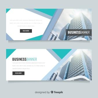 Banners de negócios modernos com foto
