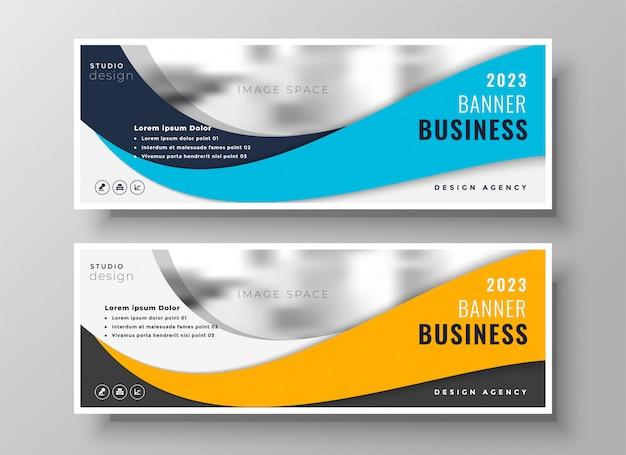 Banners de negócios ondulado amarelo e azul