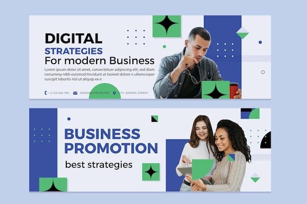 Banners de negócios planos com foto Vetor Premium
