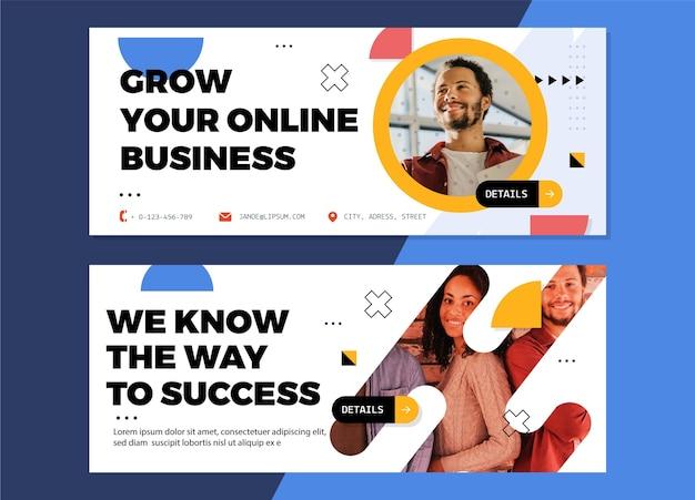 Banners de negócios planos com foto