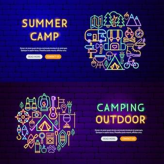 Banners de néon de acampamento. ilustração em vetor de promoção ao ar livre.