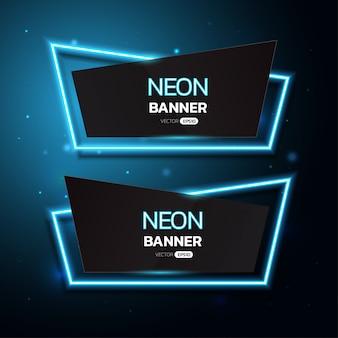 Banners de néon geométricos.