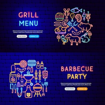 Banners de néon para churrasco. ilustração em vetor de promoção de grelha.