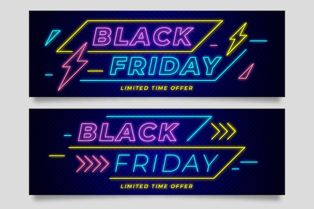 Banners de néon preto de sexta-feira