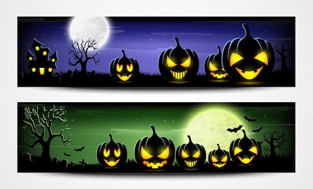 Banners de noite de halloween com abóboras assustadoras