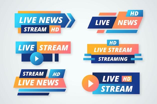 Banners de notícias com transmissão ao vivo