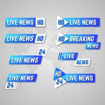 Banners de notícias com transmissões ao vivo em estilo