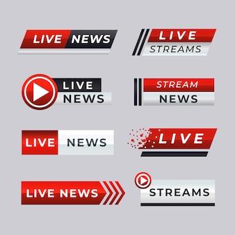 Banners de notícias de transmissão ao vivo