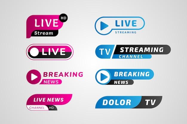 Banners de notícias de transmissões ao vivo em azul e rosa