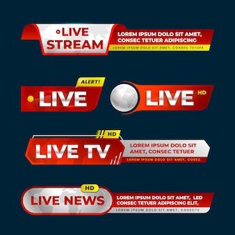 Banners de notícias de transmissões ao vivo