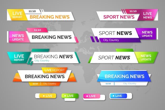 Banners de notícias de última hora do modelo