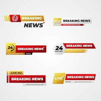 Banners de notícias de última hora dourados e vermelhos