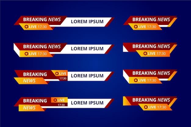 Banners de notícias de última hora vermelhas e amarelas