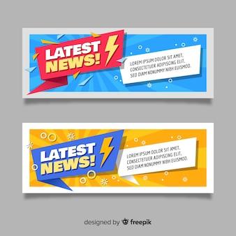 Banners de notícias mais recentes coloridos