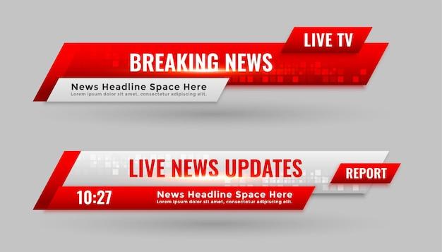 Banners de notícias no terço inferior em cor vermelha