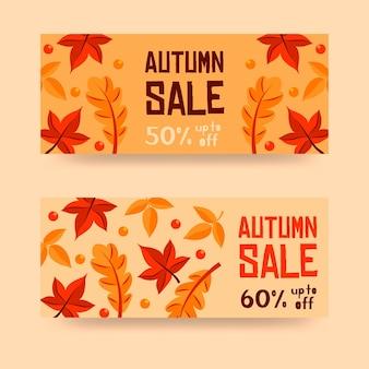 Banners de oferta de venda de design plano outono