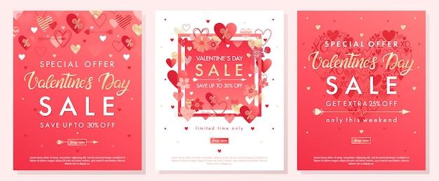 Banners de oferta especial de dia dos namorados com diferentes corações e elementos de folha dourada.