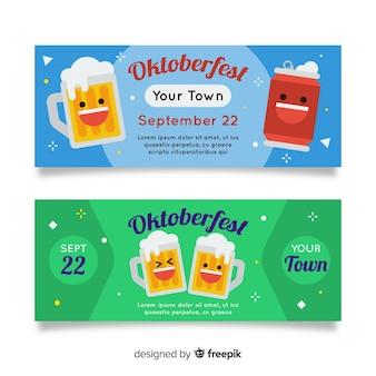 Banners de oktoberfest azuis e verdes