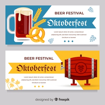 Banners de oktoberfest clássicos com design liso