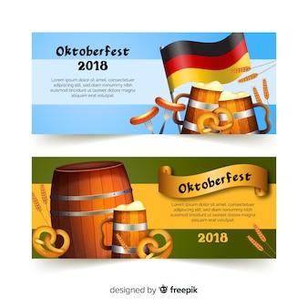 Banners de oktoberfest clássicos com design realista