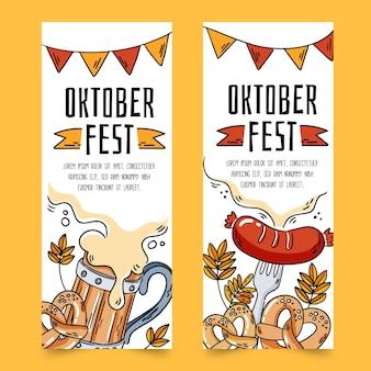 Banners de oktoberfest com bebidas e comida