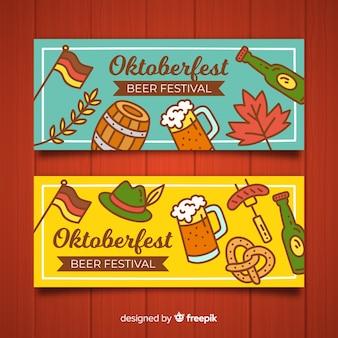 Banners de oktoberfest com elementos