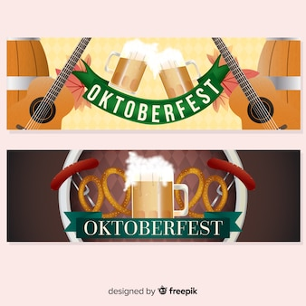 Banners de oktoberfest com guitarras