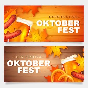 Banners de oktoberfest com salsichas e cerveja
