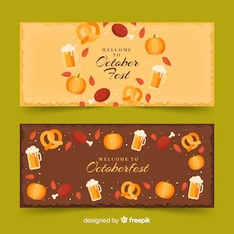 Banners de oktoberfest de design plano