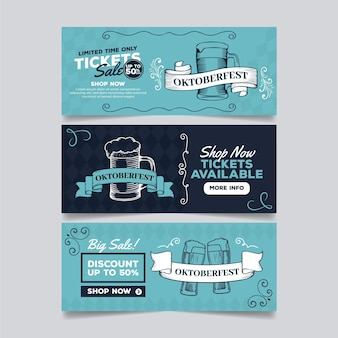 Banners de oktoberfest de design vintage