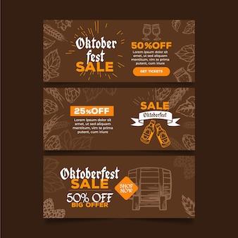 Banners de oktoberfest design plano
