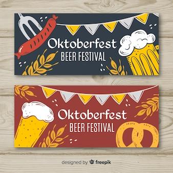 Banners de oktoberfest linda mão desenhada