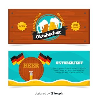 Banners de oktoberfest modernos com design liso