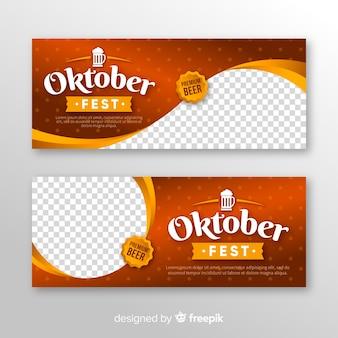 Banners de oktoberfest modernos com design realista