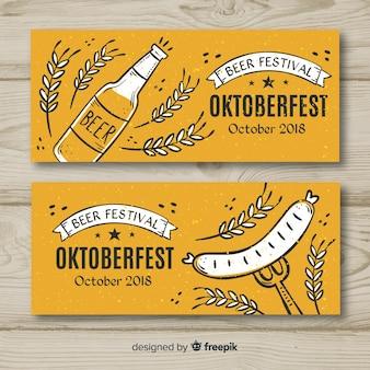 Banners de oktoberfest na mão desenhada estilo