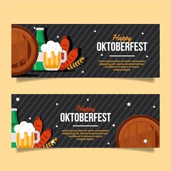 Banners de oktoberfest plana
