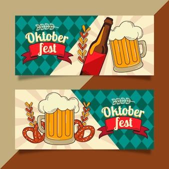 Banners de oktoberfest vintage