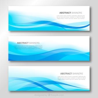 Banners de ondas azuis
