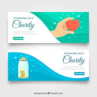 Banners de ondas bonitas do dia da caridade