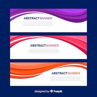 Banners de ondas coloridas abstratas