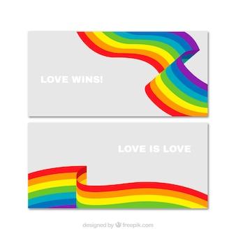 Banners de ondas coloridas do orgulho do dia
