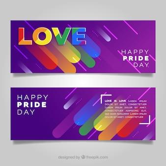 Banners de orgulho abstrato lgtb