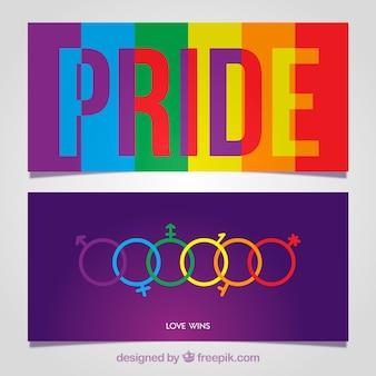 Banners de orgulho colorido lgtb