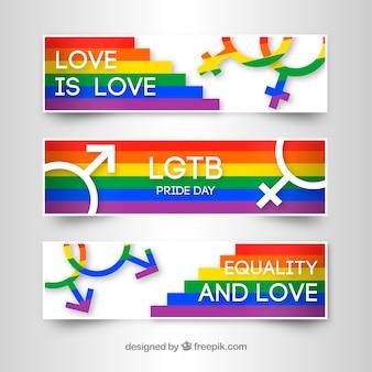Banners de orgulho lgbt com muitas cores