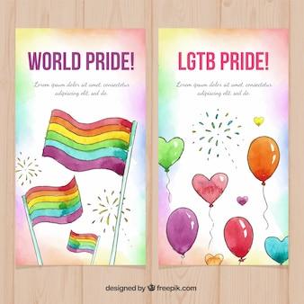 Banners de orgulho lgbt em estilo aquarela